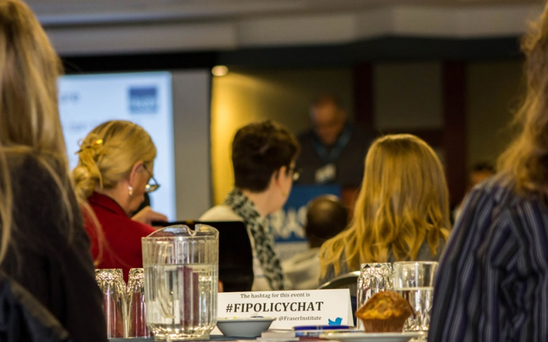 Students listen as Dr. Kenneth Green presents on Energy Poverty at a Saskatoon seminar. Check out #FIPolicyChat on Twitter to see what other students have said about these seminars.